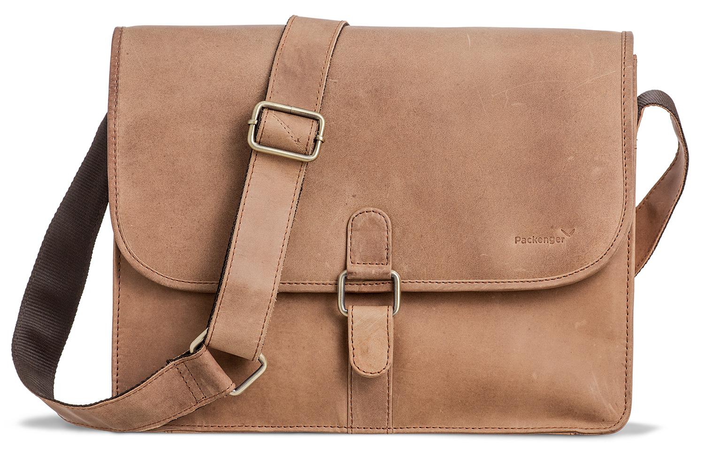 Packenger Aslang XL Messenger Bag, Unisex aus Echtleder