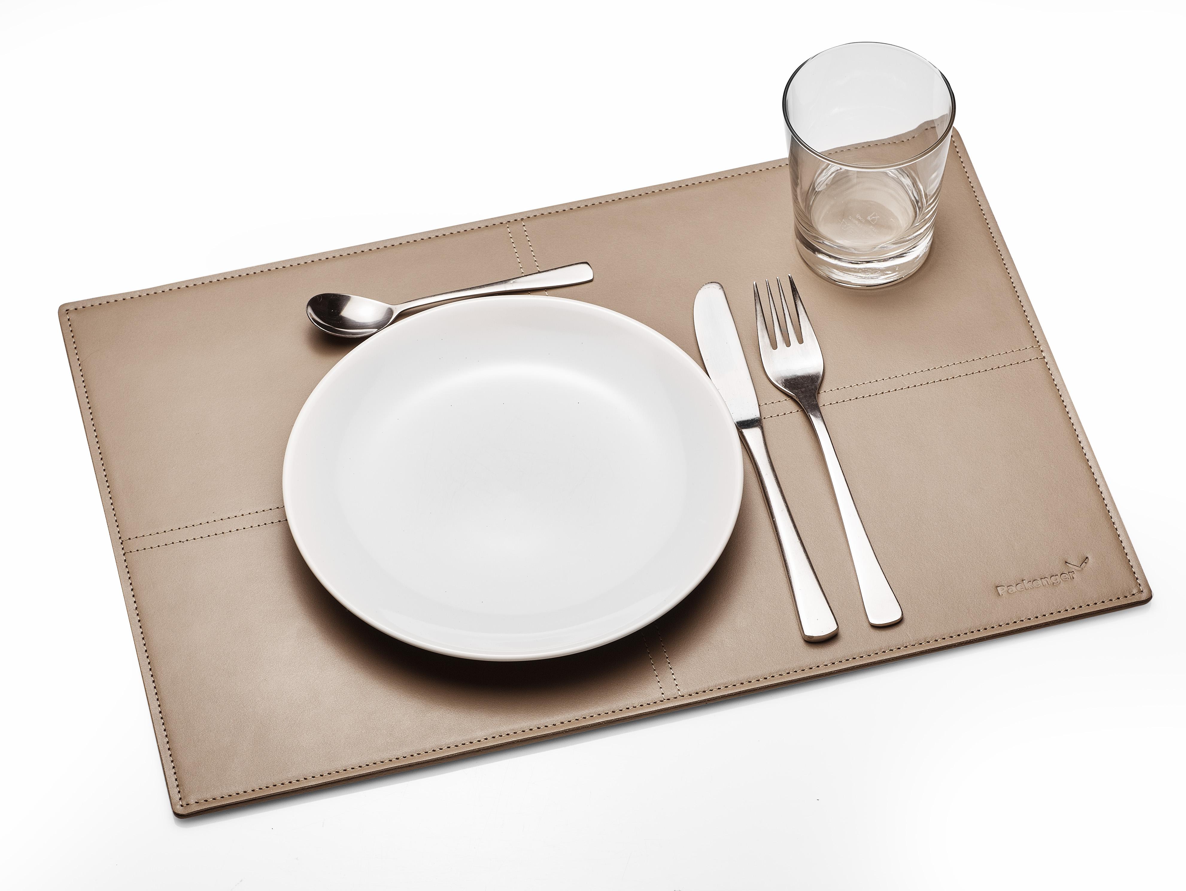 4er Sets Packenger Home Collection Tischsets aus echtem Leder in Beige und Schwarz