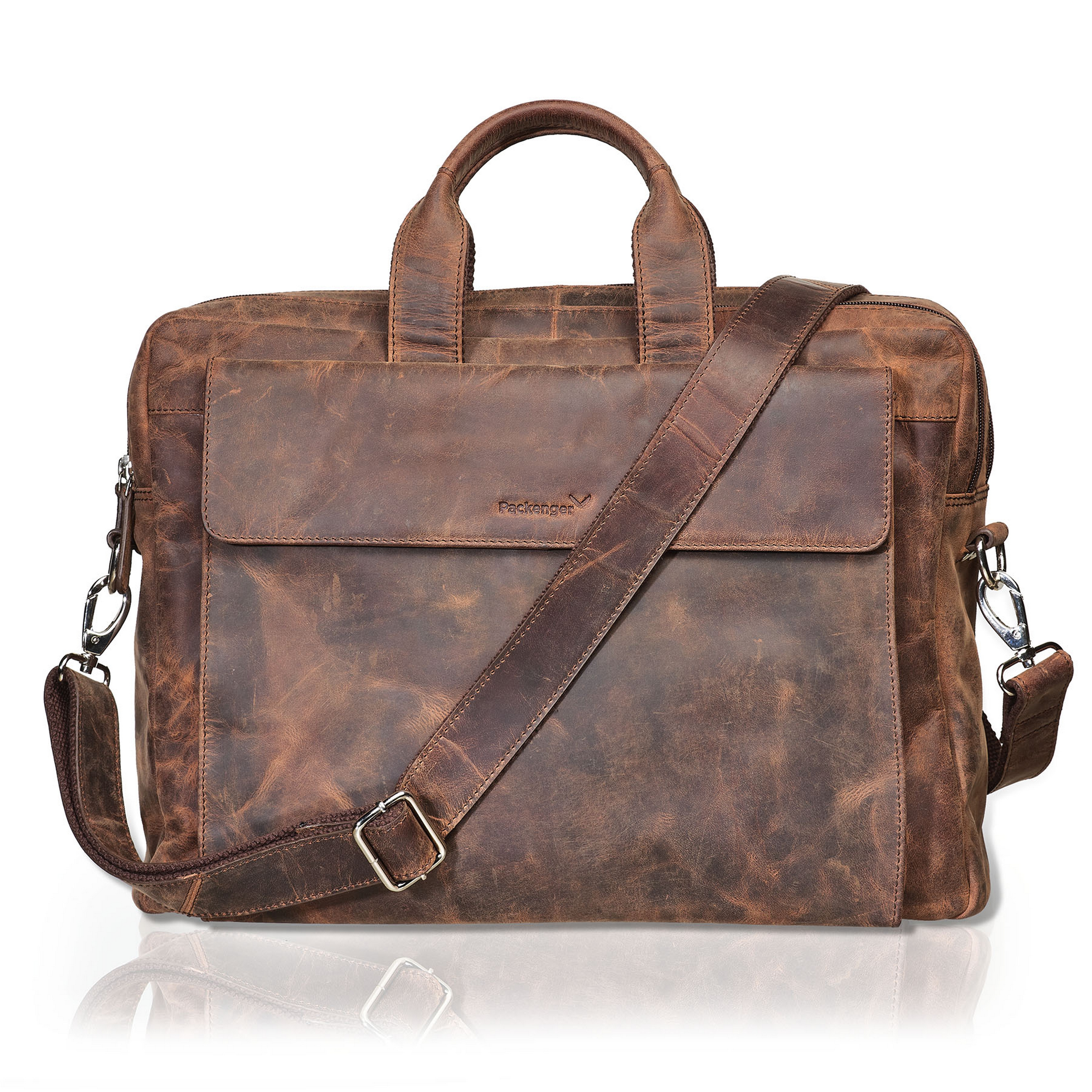 Packenger Messenger Bag ODIN Ledertasche in Vintage Braun