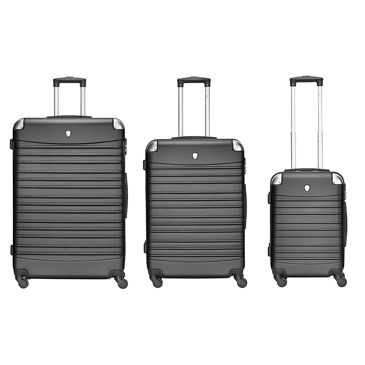 3er Koffer-Set TORINO, schwarz, ABS Trolley-Set Hartschale (M, L & XL) Material: ABS 4 Rollen (360°) 903-001-